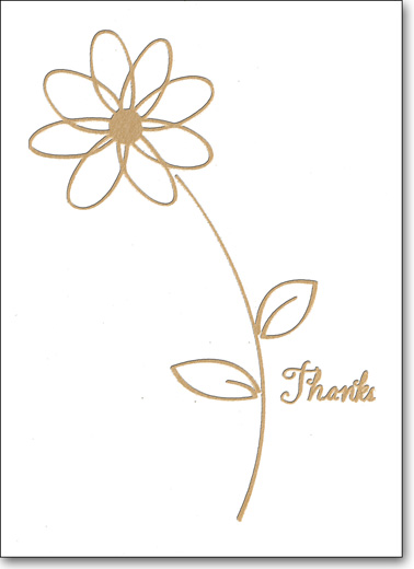 Gold Daisy (25 Cards/28 Envelopes) Boxed Thank You Note Cards - FRONT: Thanks  INSIDE: Blank Inside