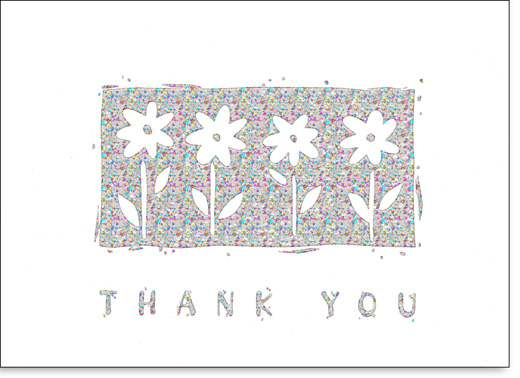 Daisies on Holographic Foil (25 Cards/28 Envelopes) Boxed Thank You Note Cards - FRONT: Thank You  INSIDE: Thanks for everything!
