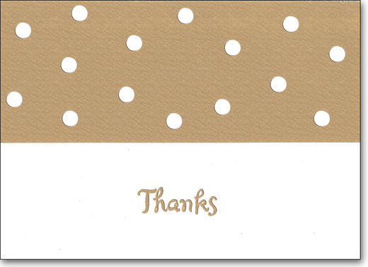 Dots on Gold (25 Cards/28 Envelopes) Boxed Thank You Note Cards - FRONT: Thanks  INSIDE: Blank Inside