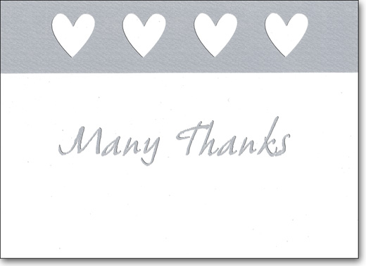 Four Hearts (25 Cards/28 Envelopes) Boxed Thank You Note Cards - FRONT: Many Thanks  INSIDE: Blank Inside