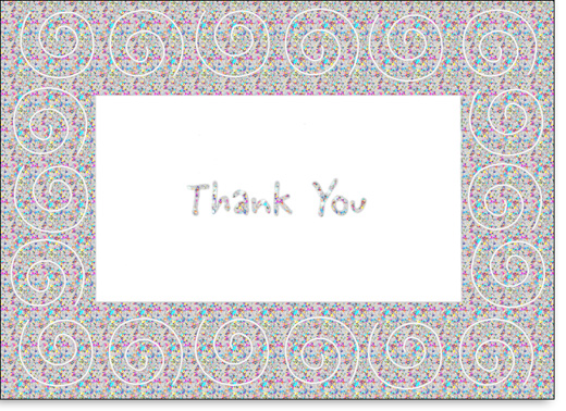 Swirls on Holographic Foil (25 Cards/28 Envelopes) Boxed Thank You Note Cards - FRONT: Thank You  INSIDE: A special thanks from me to you!