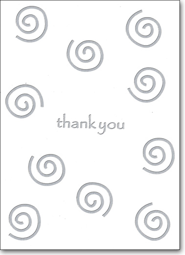 Silver Swirls on White (25 Cards/28 Envelopes) Boxed Thank You Note Cards - FRONT: thank you  INSIDE: Blank Inside