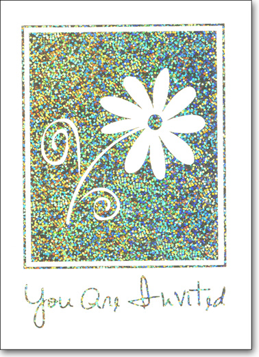 Flower on Holographic Foil (25 Cards/28 Envelopes) Boxed Invitations - FRONT: You Are Invited  INSIDE: Occasion - Date - Time - Place - RSVP