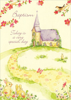 Church Bunnies (1 card/1 envelope) - Baptism Card - FRONT: Baptism - Today is a very special day.  INSIDE: May God grant your little one all the blessings of his gentle love.  Congratulations on your baby's Baptism