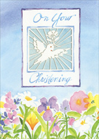 Die Cut Dove (1 card/1 envelope) - Christening Card - FRONT: On Your Christening  INSIDE: Wishing you God's Greatest Blessings all the days of your life!