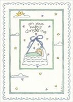 Baby Crib on String (1 card/1 envelope) Recycled Paper Greetings Christening Card