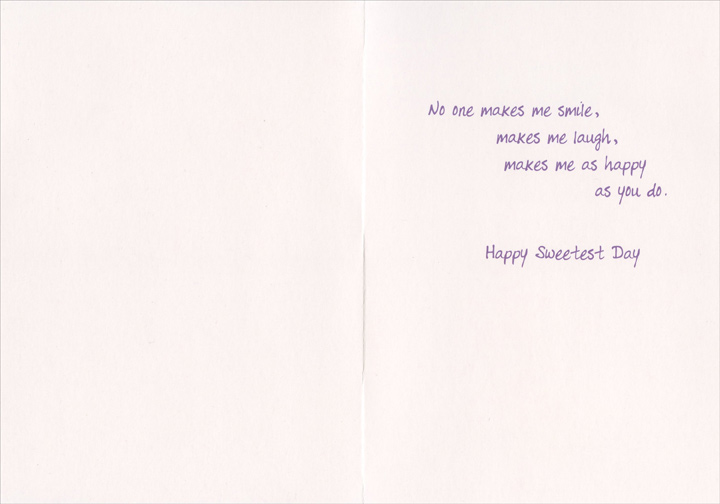 Only You (1 card/1 envelope) Recycled Paper Greetings Sweetest Day Card - FRONT: �Only you�  INSIDE: No one makes me smile, makes me laugh, makes me as happy as you do. Happy Sweetest Day