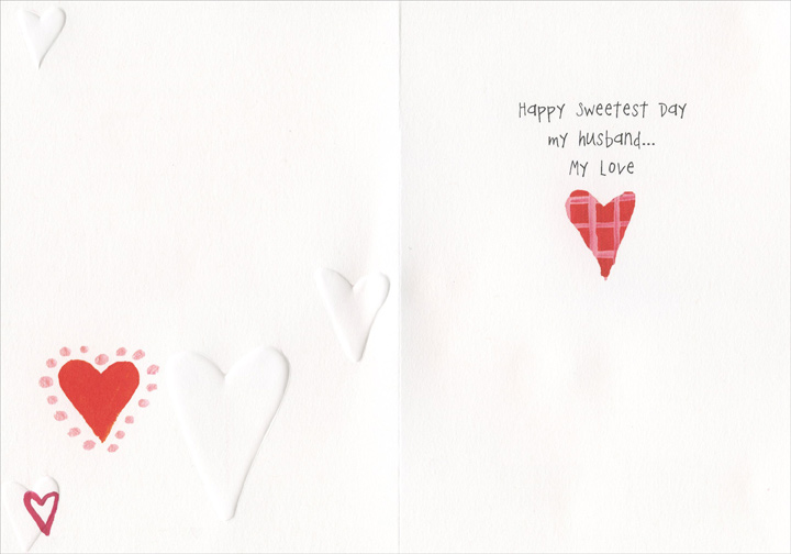 Place To Be (1 card/1 envelope) Recycled Paper Greetings Sweetest Day Card - FRONT: There is a place where I may go, where all of my thoughts are important, where my fears are comforted, where my dreams are cheered on and where I find my greatest peace. In your arms is my favorite place to be.   INSIDE: Happy Sweetest Day my husband.. My love
