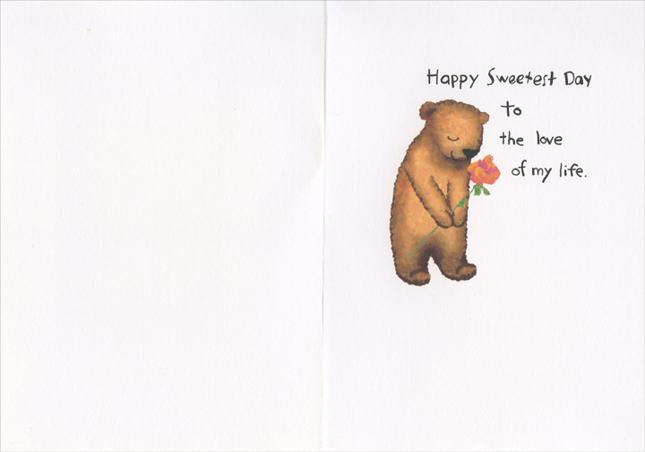 Sweet Bear (1 card/1 envelope) Recycled Paper Greetings Sweetest Day Card - FRONT: For my wonderful wife..  INSIDE: Happy Sweetest Day to the love of my life.