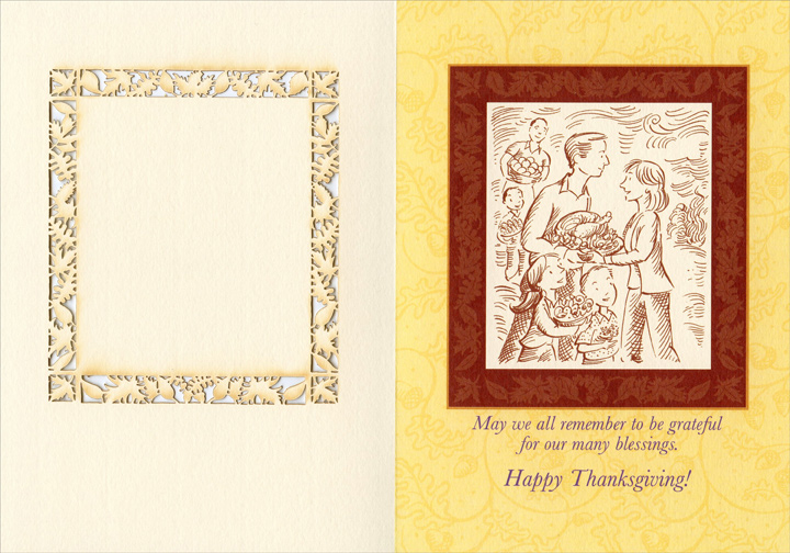 First Thanksgiving (1 card/1 envelope) Recycled Paper Greetings Thanksgiving Card - FRONT: The First Thanksgiving Thankful for having made it through some difficult days, the first pilgrims had a feast to celebrate God's provision and to count their many blessings.  INSIDE: May we all remember to be grateful for our many blessings. Happy Thanksgiving!