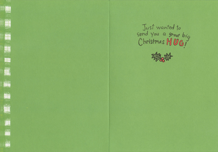 Hug/Elves (1 card/1 envelope) Recycled Paper Greetings Christmas Card - FRONT: HUG  INSIDE: Just wanted to send you a great big Christmas HUG!