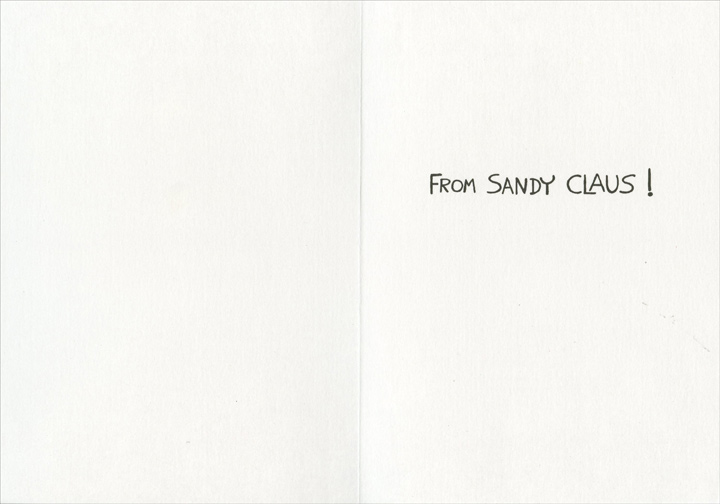 Sandy Claus (1 card/1 envelope) Recycled Paper Greetings Warm Weather Christmas Card - FRONT: Merry Christmas  INSIDE: From Sandy Claus!