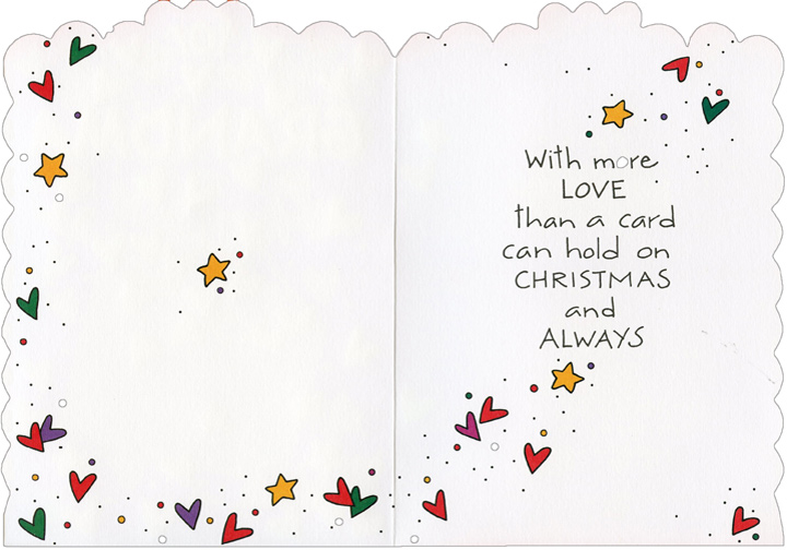Heart Envelope (1 card/1 envelope) - Christmas Card - FRONT: for Grandma  INSIDE: With more LOVE than a card can hold on Christmas and Always