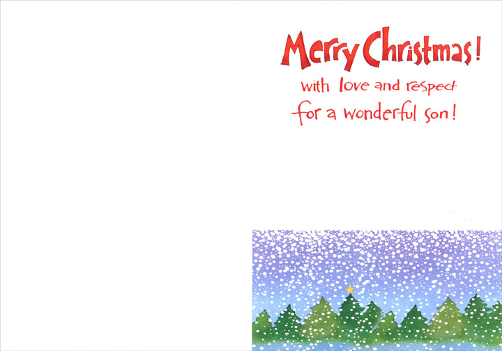 Gift & Treasure (1 card/1 envelope) Recycled Paper Greetings Christmas Card - FRONT: Son - You are a Gift and a Treasure!  INSIDE: Merry Christmas! With love and respect for a wonderful son!