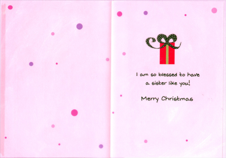 Share So Much (1 card/1 envelope) Recycled Paper Greetings Christmas Card - FRONT: Sisters share so much! All the laughter, the crying, the silliness & the smiling, & the gift of each other always.  INSIDE: I am so blessed to have a sister like you! Merry Christmas