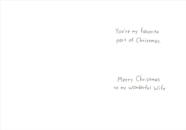 Favorite Part (1 card/1 envelope) Recycled Paper Greetings Christmas Card - FRONT: No Text  INSIDE: You're my favorite part of Christmas. Merry Christmas to my wonderful Wife