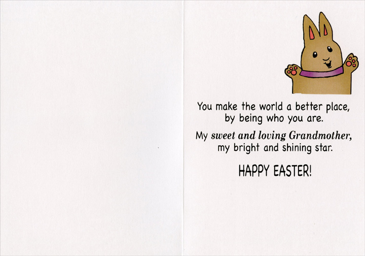 Grandma Rabbit Hugging Bunny (1 card/1 envelope) Recycled Paper Greetings Easter Card - FRONT: GRANDMA  INSIDE: You make the world a better place, by being who you are. My sweet and loving Grandmother, my bright and shining star. Happy Easter!
