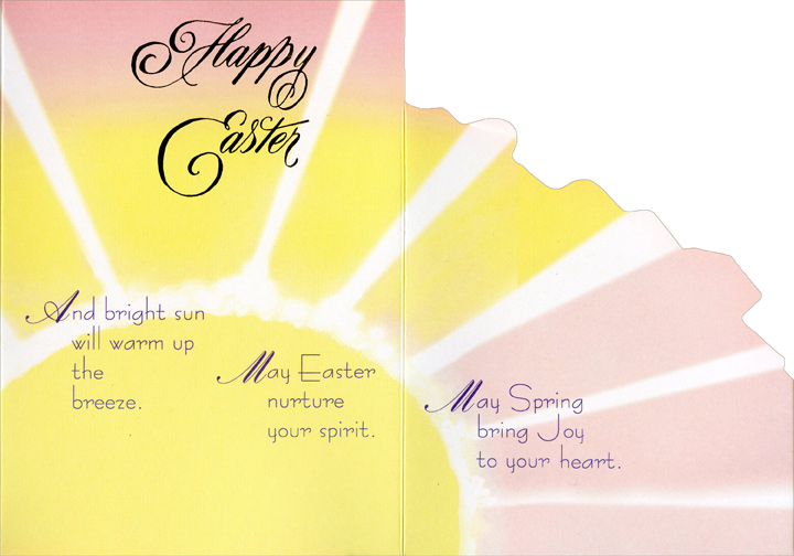 Happy Easter Floral (1 card/1 envelope) Recycled Paper Greetings Easter Card - FRONT: Happy Easter  INSIDE: Warm rain will nurture spring's flowers. And bright sun will warm up the breeze. May Easter nurture your spirit. May Spring bring Joy to your heart.
