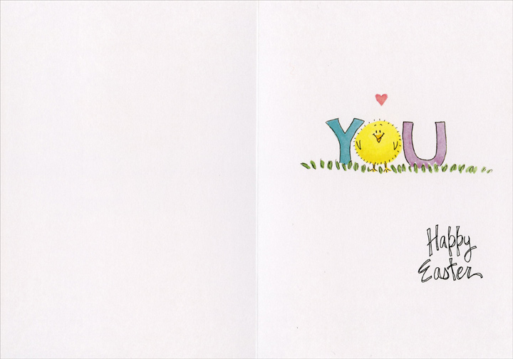 Love You (1 card/1 envelope) Recycled Paper Greetings Easter Card - FRONT: LOVE  INSIDE: YOU - Happy Easter
