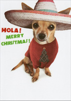 Hola Dog (1 card/1 envelope) - Christmas Card - FRONT: Hola! Merry Christmas!  INSIDE: Fleece Navidad!