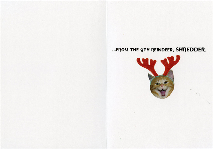 Shredder (1 card/1 envelope) Recycled Paper Greetings Funny Christmas Card - FRONT: Merry Christmas�  INSIDE: �from the 9th reindeer, SHREDDER.