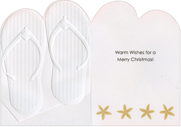 Flip Flops (1 card/1 envelope) Recycled Paper Greetings Warm Weather Christmas Card  INSIDE: Warm Wishes for a Merry Christmas!