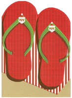 Flip Flops (1 card/1 envelope) - Christmas Card