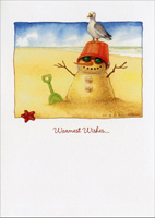 Sand Snowman (1 card/1 envelope) - Christmas Card - FRONT: Warmest Wishes�  INSIDE: �for a very Merry Christmas!