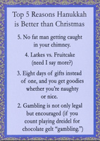 Top 5 Reasons (1 card/1 envelope) Recycled Paper Greetings Funny Hanukkah Card