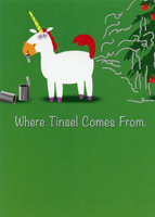 Tinsel Unicorn (1 card/1 envelope) Recycled Paper Greetings Funny Christmas Card