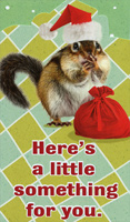 Squirrel In Santa Hat: Money / Gift Card Holder (1 card/1 envelope) Recycled Paper Greetings Funny Christmas Card