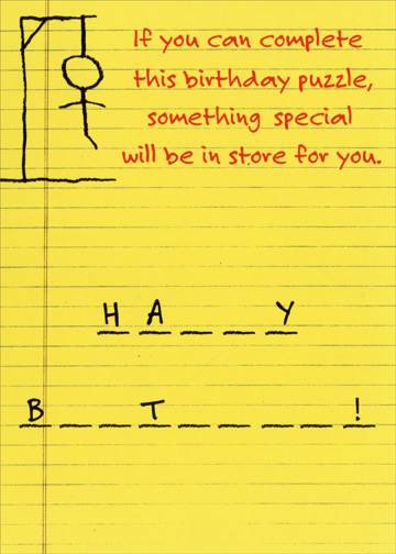 Details About Hangman Funny Birthday Card