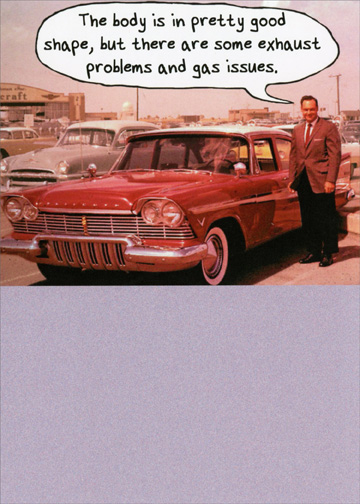 Man With Old Car Funny Birthday Card Greeting Card By Recycled - Funny old cars