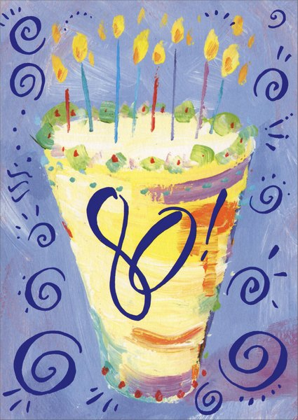 80th Cake (1 card/1 envelope) Birthday Card - FRONT: 80!  INSIDE: Happy 80th Birthday!