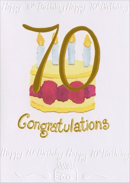 70 Over Cake (1 card/1 envelope) Birthday Card - FRONT: 70 Congratulations  INSIDE: Congratulations On Your Special Birthday