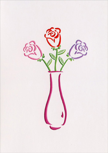 True Colors/Vase (1 card/1 envelope) Mother's Day Card - FRONT: No text  INSIDE: Wishing you a bright and happy Mother's Day.