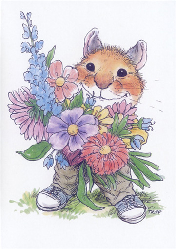 Mouse & Flowers (1 card/1 envelope) Mother's Day Card - FRONT: No text  INSIDE: A bunch of love for you!  Happy Mother's Day.
