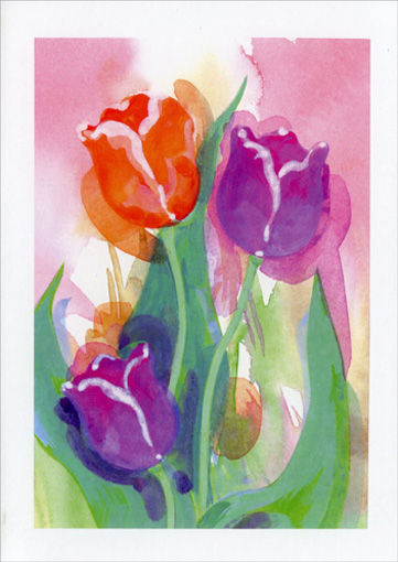 Tulips: H.M.D. (1 card/1 envelope) Mother's Day Card - FRONT: No text  INSIDE: Happy Mother's Day