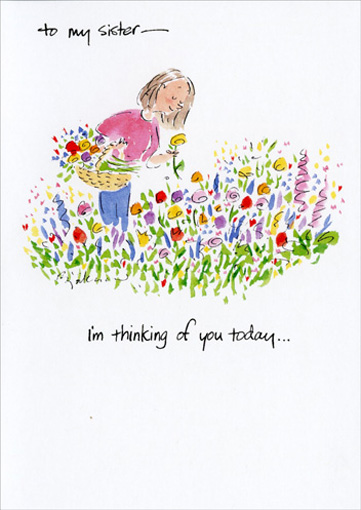Girl Picking Flowers (1 card/1 envelope) - Mother's Day Card - FRONT: To my sister - I'm thinking of you today..  INSIDE: and sending you my love on Mother's Day.