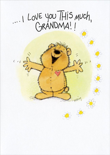 This Much (1 card/1 envelope) Mother's Day Card - FRONT: ..I love you this much, Grandma!!  INSIDE: ..Happy Mother's Day!!