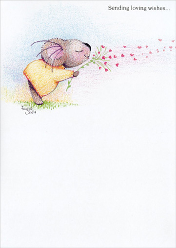 Blowing Hearts (1 card/1 envelope) Mother's Day Card - FRONT: Sending loving wishes..  INSIDE: ..for a happy Mother's Day to a special Grandma.