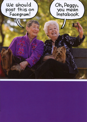 Old Ladies On A Bench Funny Birthday Card For Her