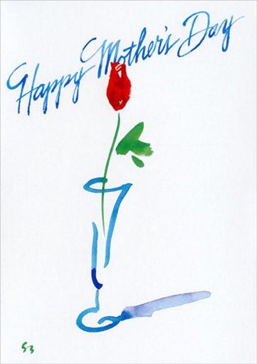 Single Rose (1 card/1 envelope) Mother's Day Card - FRONT: Happy Mother's Day   INSIDE: With all my love