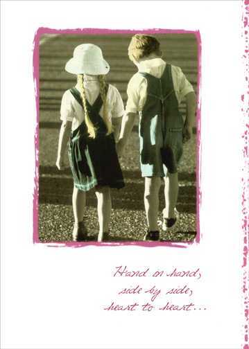 Hand in Hand (1 card/1 envelope) Sweetest Day Card - FRONT: Hand in hand, side by side, heart to heart..  INSIDE: Day after wonderful day, I love you.  Happy Sweetest Day