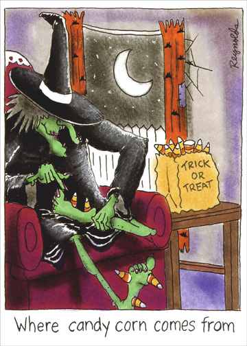 Pick My Feet (1 card/1 envelope) Funny Halloween Card - FRONT: Where candy corn comes from  INSIDE: Trick or Treat, pick my feet, give me something good to eat. Happy Halloween