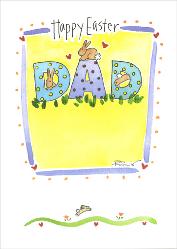 Offspring (1 card/1 envelope) - Easter Card - FRONT: Happy Easter Dad  INSIDE: ..with love from your offspring!