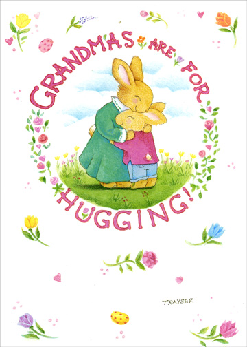Hugging (1 card/1 envelope) Easter Card - FRONT: Grandma's Are For Hugging!  INSIDE: Sending Love and Hugs to My Wonderful Grandma at Easter!