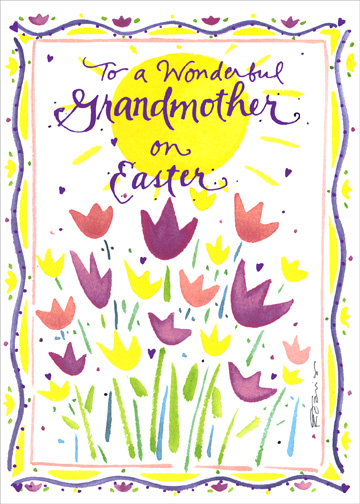 Grandmother: Heart Flowers (1 card/1 envelope) Easter Card - FRONT: To a Wonderful Grandmother on Easter  INSIDE: Loving wishes for a bright day and a beautiful spring!  Happy Easter