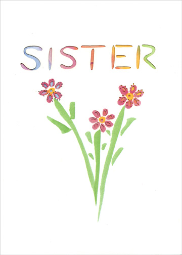 Sister Bouquet (1 card/1 envelope) Easter Card - FRONT: Sister  INSIDE: I Love you in a big way!  Happy Easter