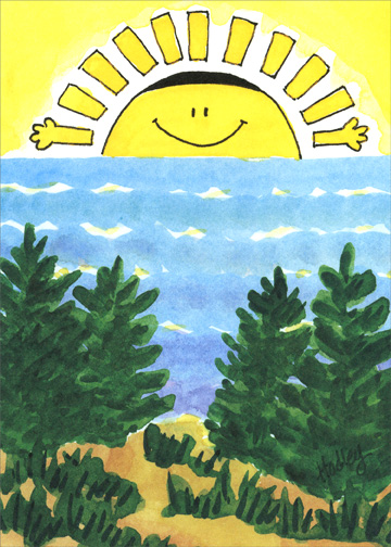 Rising Sun (1 card/1 envelope) Passover Card - FRONT: No Text  INSIDE: Happy Passover!